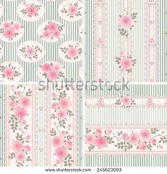 Shabby Chic Wallpaper Border | Seamless floral backgrounds and borders. Set of shabby chic style ...