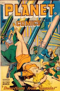 Planet Comics #53 pulp comic cover girl woman dame captive hostage prisoner tied bound chained chains kidnap gun pistol raygun rocket danger