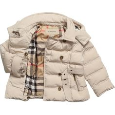 Burberry Girls Beige Puffer Coat ❤ liked on Polyvore featuring baby, baby clothes, girls, kids and kids clothes
