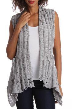 Silver Patterned Sweater Vest