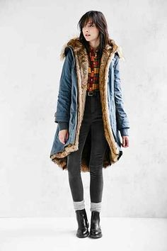 Members Only Faux Fur-Lined Hooded Parka