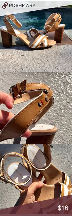 Tommy❤️Hilfiger ankle strap sandal Adorable and comfortable great condition with one little scratch as seen in pic.. great color Tommy Hilfiger Shoes Sandals