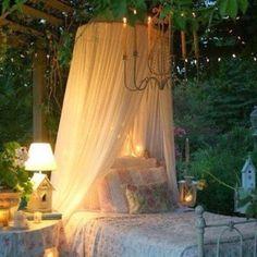 shabby, romantic, bed