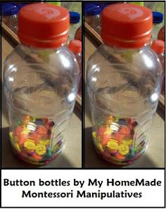 My HomeMade Montessori: Button Bottles: Leftover buttons for shakers