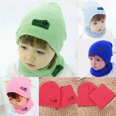 6 색 귀여운 봄 가을 겨울 아기 소녀/소년 어린이 니트 모자 스카프 세트 무료 배송