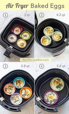 Best Air Fried Baked Eggs Recipe in Air Fryer KETO brunch. Keto air fried baked eggs in air fryer is quick easy paleo egg cups egg muffins with spinach Air Fryer Recipes Breakfast, Air Fryer Oven Recipes, Air Frier Recipes, Air Fryer Dinner Recipes, Airfryer Breakfast Recipes, Baked Egg Cups, Cooks Air Fryer, Best Recipe Box, Breakfast Desayunos