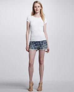 Embroidered Denim Boyfriend Shorts by Current/Elliott at Neiman Marcus.