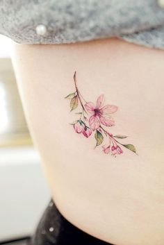 Cherry Blossom Tattoo Designs are accepted by many people as these are mainly nature-themed tattoos. Hence, here we are giving you 9 Cherry Blossom Tattoo D Delicate Flower Tattoo, Flower Tattoo On Side, Small Flower Tattoos, Flower Tattoo Designs, Small Tattoos, Meaningful Flower Tattoos, Side Tattoos, Trendy Tattoos, Body Art Tattoos