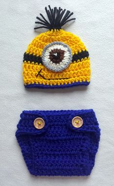 Hand crochet minion OUTFIT photo prop COSTUME gift size 0-3 months in Baby & Despicable MeMINION INSPIREDcrochet minion setboy photo prop ...
