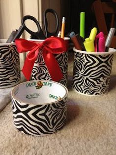 Quick and easy way to recycle icing containers into classroom storage containers!