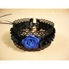 Gothic Choker with Lace and Ruffled Satin, Black and Royal Blue... ($12) ❤ liked on Polyvore featuring jewelry, necklaces, goth choker necklace, lace choker, royal blue necklace, gothic necklace and thin necklace