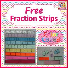 Free Color-Coded Fraction Strips #math #fractions #elem