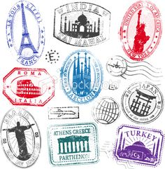 Take your trip with Glamulet charmsFamous Monument Travel Stamps Royalty Free Stock Vector Art Illustration Passport Template, Passport Stamps, Mini Album Scrapbook, Travel Scrapbook, Travel Stamp, Famous Monuments, Foto Transfer, Freebies, Tampons
