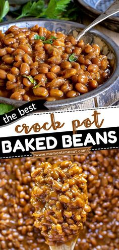 The perfect side dish for BBQs and dinner ideas this summer! Made from scratch in the crockpot, this easy baked beans recipe is the BEST. What's more, the possibilities are endless! Nothing beats… Simple Baked Beans Recipe, Baked Beans Crock Pot, Best Baked Beans, Slow Cooker Baked Beans, Homemade Baked Beans, Baked Bean Recipes, Green Bean Recipes, Vegetarian Side Dishes, Side Dishes For Bbq