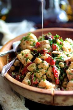 - Warm Roasted Cauliflower and  Chickpea Salad - with roasted peppers  (roast peppers and marinate in olive oil/garlic)