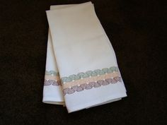 Handmade Swedish Weaving Embellished Towels by FuzzyDuckCreations, 25.00