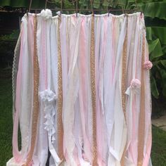 Pink Gold Sequin 8 foot long Photobooth Sequin Backdrop Fabric Ribbon Garland Sparkly White Ivory Pink Blush Sparkle Glitter