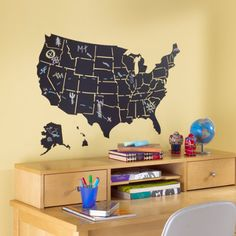 Love this USA Map chalkboard decal as a study aid in your kids homework area!