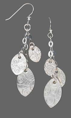 Earrings with PMC (Precious Metal Clay) and Sterling Silver Chain - Fire Mountain Gems and Beads