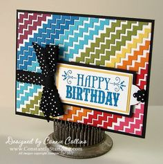Stampin' Up! Tasteful Trim Die  by Connie Collins at Constantly Stamping: Colorful Happy Birthday Card