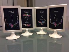 IKEA Tolsby frame w/ chalkboard-look table numbers