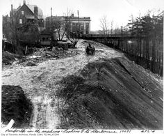 'Danforth In The Making. Looking E to Sherbourne. According to the note. probably facing west that looks like the bank on the right. Toronto Ontario Canada, Toronto City, Canadian Things, Historical Architecture, Classic Architecture, Old Gas Stations, Landscape Photos, Old Pictures, Places To See