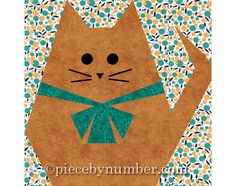 Fat Cat quilt block paper pieced quilt by PieceByNumberQuilts