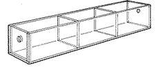 "Narrow Tray Three 3 3/4""-wide compartment. 2"" H x12"" W x 2 1/2"" D"