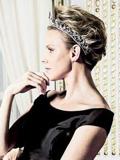 HSH Princess Charlene wearing the Ocean Tiara, a wedding gift from Prince Albert of Monaco