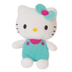 Pluche Hello Kitty groen 12 cm. Pluche Hello Kitty knuffel met groene kleding aan. Formaat: ongeveer 12 cm.