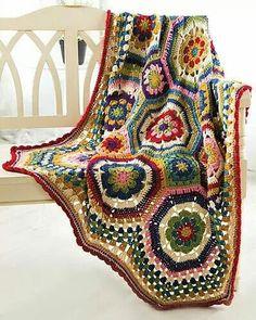 Octagon Throw, one of 25 patterns published in Crochet! Magazine, Autumn 2014: http://goo.gl/LD3ROR -Pamela (visit us at http://crochetersanonymous.com) #crochet #crafts #art #crochetersanonymous