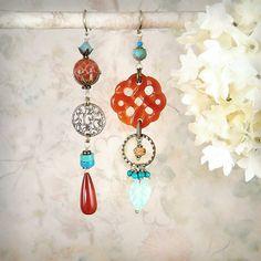Tribal Echo - OOAK Tribal Earrings by MiaMontgomery, Carnelian, Turquoise, Fire Agate, Bronze