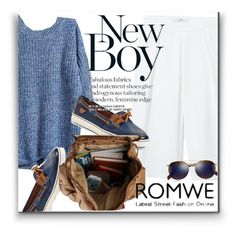 """""""ROMWE Sweater"""" by karolinaneverkarolcia ❤ liked on Polyvore featuring MANGO, Sperry Top-Sider and Cutler and Gross"""