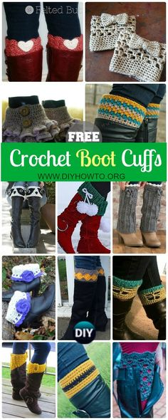 Collection of Crochet Boot Cuffs & Toppers Free Patterns: Crochet Animal Boot Cuffs, Lace Cuffs, Ruffled Cuffs, Flower Toppers, Boot Warmers and more via @diyhowto