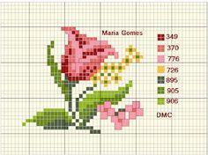 Linhas e Pontos: Os Meus Gráficos de Ponto Cruz Small Cross Stitch, Cross Stitch Rose, Cross Stitch Flowers, Cross Stitch Patterns, Easter Cross, Yarn Crafts, Beautiful Day, Needlepoint, Crochet