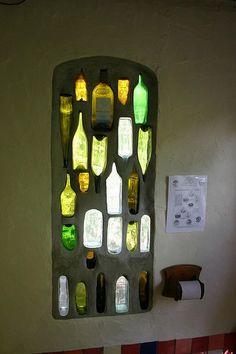 upcycled glass bottle window