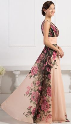 d2d4676046f3 GK Deep V-Neck Flower Pattern Chiffon Ball Gown Evening Prom Party Dress 8  Size US You may also like.
