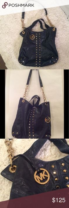 "Michael Kors-Navy blue shoulder bag ""Uptown Astor"" Awesome! Large, Navy blue hobo /tote/ satchel, Gold tone studs and chains, gently used, no tears or stains, very clean!! 4 slip pockets, 1 zip pocket, Magnetic Closure, MK interior lining. Leather looks somewhat wrinkled due to storage. KORS Michael Kors Bags Hobos"