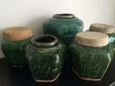 Gemberpotjes Ginger Jars, Table Settings, Objects, Hand Painted, Turquoise, Antiques, Lace, Kitchen, Vintage