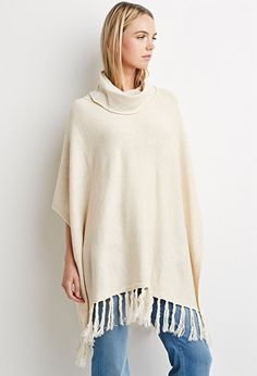 Contemporary Fringed Hem Poncho | Forever 21 - 2000174299