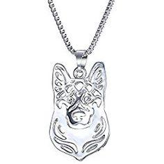 "WeiVan German Shepherd Dog Face Pendant Necklace Hollow Dog Pet Jewelry Dog Lover,18"""