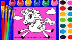 Little Kinder Club Horse Coloring Page for Kids to Learn to Color and Paint