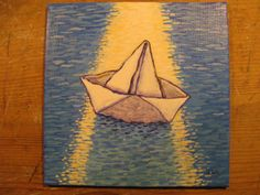 'Sailing By' an original painting 4 x 4. by Joy Williams on Etsy, $60.00