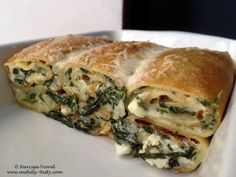 Savory crepes filled with feta cheese and spinach. Crepes Filling, Savory Crepes, Romanian Food, Feta, Spanakopita, Allrecipes, Spinach, Main Dishes, Vegetarian