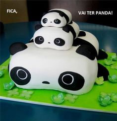 Happy Birthday Cute Panda Cake For Kids With Your Name.Print Name on Panda Cake.Name Birthday Cake For Kids.Print Name on Funny Birthday Wishes Cake Picture Pretty Cakes, Cute Cakes, Beautiful Cakes, Amazing Cakes, Cakes Pokemon, Creative Cakes, Creative Food, Cake Cookies, Cupcake Cakes