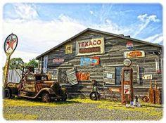 Vintage Service Station Photograph by Steve McKinzie Old Gas Pumps, Vintage Gas Pumps, Pompe A Essence, E Motor, Car Prints, Old Garage, Old Gas Stations, Old Country Stores, Filling Station