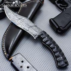 ALONZO KNIVES USA CUSTOM HANDMADE DAMASCUS HUNTING SKINNING KNIFE MICARTA 941 #AlonzoKnives