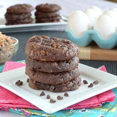 chocolate toffee banana cookies - using a chocolate cake box mix