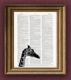 Cool giraffe beautifully upcycled vintage by collageOrama on Etsy, $7.99