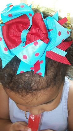 Aqua and Red double boutique bow. $4.99, via Etsy.